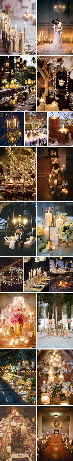 """What is the first thing that comes to mind when you hear the word """"candle""""? For me, it means romance, warmth, coziness, love. And of course, weddings. From tea lights at ceremony, to floating candles, to tall centerpiece candles...there are so many ways to incorporate this design element into your big day"""