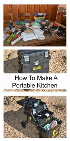 This is a portable kitchen ready for any emergency or for camping. It's ready to take when you are!