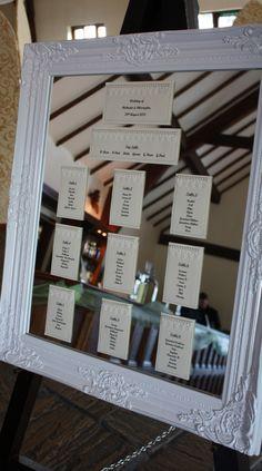 elegant wedding table plan on a beautiful mirror