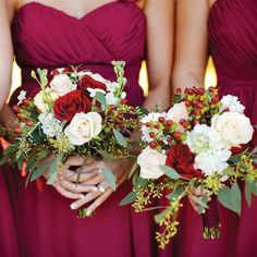 Roses, stephanotis and greenery played perfectly against the wine-red color of the maids' matching dresses.