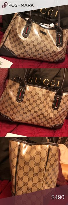 9be42817f214 Authentic Gucci hand bag Authentic Gucci hand bag, vinyl with leather trim,  comes with