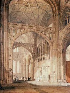 Joseph Mallord William Turner 'Interior of Salisbury Cathedral, Looking towards the North Transept', - Graphite and watercolour on paper - Dimensions Support: 660 x 508 mm - © Salisbury and South Wiltshire Museum Salisbury Cathedral, Watercolor Landscape Paintings, Watercolour, Joseph Mallord William Turner, Picture Places, Will Turner, British Library, Covent Garden, London