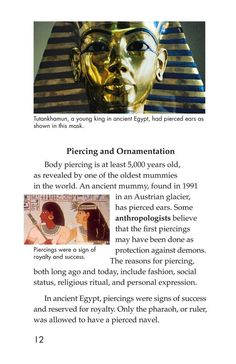 Body Art | Kids A-Z Body Piercing, Ear Piercings, Raz Kids, Kids Pages, Tutankhamun, Bodies, Art For Kids, Body Art, At Least