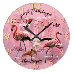 Customizable Flamingo clocks from Zazzle. Choose a pre-existing design for your wall clock or create your own today! Wall Clock Design, Pink Bird, Large Clock, Typography Art, Pink Flamingos, Pink Fashion, Hand Coloring, Beautiful Birds, Cool Stuff