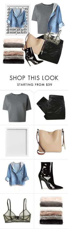 """""""DENIM JACKET"""" by sitinsilence ❤ liked on Polyvore featuring T By Alexander Wang, MW Matthew Williamson, Pottery Barn, Calvin Klein, Balenciaga, Bodas and Nordstrom"""