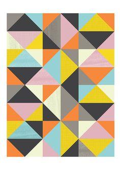 Geometric Art Harlequin Retro poster Mid century modern by handz