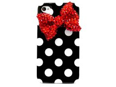 Bling Crystal Polka Dot Black White iphone 4 Case, iphone 4G Red Bow Case, iphone 4 Bow Case, iphone 4S Case Cover A1