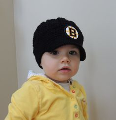 Handmade Boston Bruins Crochet Newsboy Hat with Bruins Patch / NHL Baby / Photo Prop / Custom Made Infant, Baby
