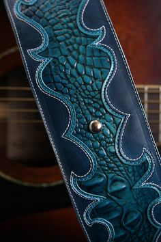 """Turquoise Guitar Strap, Custom Leather Guitar Strap, The """"Revelry"""" Guitar Strap"""
