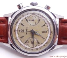 Croton Clamshell Case Vintage Chronograph 1940s Mens Watch Serviced 1/16 #Croton #Sport
