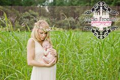 Newborn baby boy with mom in field of green.  Outdoor newborn session. www.TheAthensNewbornPhotographer.com