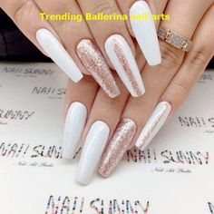 Hot Color Shades to Stay Fashionable with Ballerina Nails Crystal White Ballerina Nails picture… White Coffin Nails, Coffin Shape Nails, Rose Gold Nails, White Nails, Nail Art Designs, Acrylic Nail Designs, Ongles Or Rose, Ballerina Acrylic Nails, Spring Nail Trends