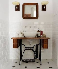 UPCYCYLE a singer sewing table & peddle system into a vanity in the bathroom! Repurpose estate sale finds like this Singer sewing table into a bathroom vanity! Diy Bathroom, Vintage Bathroom, Art Deco Bathroom, Black Bathroom Decor, Small Bathroom, Home Diy, Bathroom Design, Bathroom Decor, Black Bathroom