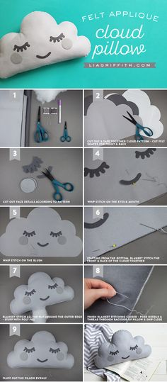 Make Your Own Hand Sewn Felt Cloud DIY Pillow! Make Your Own Hand Sewn Felt Cloud DIY Pillow! The post Make Your Own Hand Sewn Felt Cloud DIY Pillow! & important things appeared first on Pillow . Felt Pillow, Cloud Pillow, Baby Pillows, Kids Pillows, Dyi Pillows, Decorative Pillows, Sewing Tutorials, Sewing Projects, Diy Para A Casa