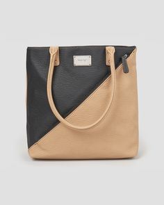 Color Block Tote with Outer Diagonal Zip Pocket, Main View
