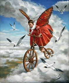 Dream Imagination surreal art by Michael Cheval little in red ride bike in sky