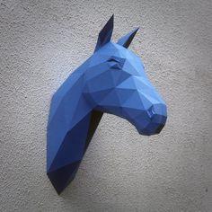 Papercraft horse head printable DIY template di WastePaperHead
