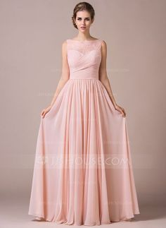 A-Line/Princess Scoop Neck Floor-Length Chiffon Lace Bridesmaid Dress With Ruffle (007057702) #jjshouse