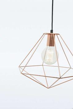 Lampe suspension géométrique en cuivre