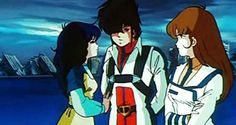 The best love triangle in a cartoon... Lynn Minmei, Rick Hunter, and Lisa Hayes from Robotech! Great series!