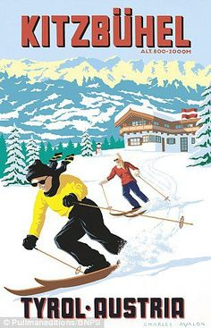 [NEW] 'Kitzbuhel: Ski-in, Ski-out' - by Charles Avalon - Vintage travel posters - Winter Sports posters - Art Deco - Austria -Pullman Editions Ski Vintage, Vintage Ski Posters, Vintage Winter, Retro Posters, Poster Art, Art Deco Posters, Mode Au Ski, Old Posters, Sports Posters