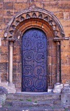 Doorway in Worksop Priory - Worksop, Nottinghamshire, England Cool Doors, Unique Doors, The Doors, Windows And Doors, Door Knockers, Door Knobs, Porte Cochere, Doors Galore, Purple Door
