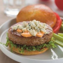Buffalo Turkey Burgers - A zesty Buffalo-style sauce and blue cheese ...