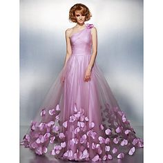 Formal Evening Dress A-line One Shoulder Court Train Tulle Dress – USD $ 199.99