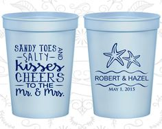 Sandy Toes and Salty Kisses, Cheers to the Mr and Mrs, Printed Stadium Cup, Tropical Wedding, Beach Cup, Starfish, plastic stadium cup (356)