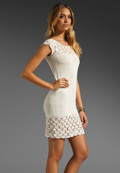 """New This dress/cover up retails at $140.00 and has sold out everywhere. Beige Crocheted Cottonblend Dress Handmade, Slips on, Hand wash               68% cotton 32% nylon Shoulder seam to hem measures approx 36"""" in length Unlined Partially sheer fabric Hand wash cold. Model is wearing size sma..."""