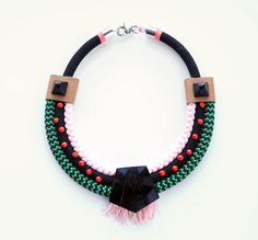 Statement rope necklace chunky bright necklace by TATEROSESHOP