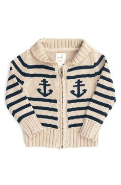 Peek 'Anchor' Zip Cardigan (Baby Boys) | Nordstrom