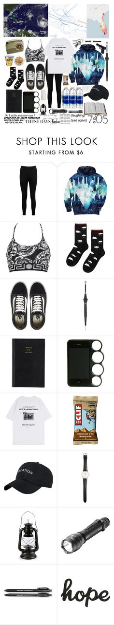 """""""Hurricane Survival Kit"""" by carmellascreations ❤ liked on Polyvore featuring Boohoo, DK, Aloha From Deer, Versace, Hansel from Basel, Vans, Alexander McQueen, Prada, Ole Mathiesen and 5.11 Tactical"""