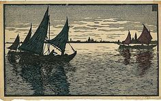 Carl Thiemann, c.1906 #carlthienmann#woodcut#reliefprint Woodblock Print, Sailing Ships, Venice, Online Printing, This Is Us, Japanese, Prints Online, Painting, Shop