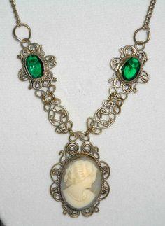 Vintage Filigree Cameo Necklace