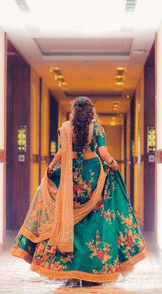 Teal Floral Light Lehenga for Sangeet