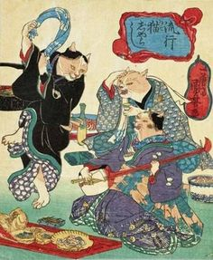 Dancing Cats by Utagawa Kuniyoshi 歌川国芳 Japanese Artwork, Japanese Painting, Japanese Prints, Japan Illustration, Era Edo, Edo Period, Asian Cat, Japanese Mythology, Japanese Cat