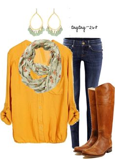Yellow button-down,floral scarf, skinny jeans and cowboy boots... could wear my same yellow long sleeve i have, instead of the button down