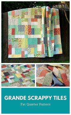 Grande Scrappy Tiles by Cheryl of Meadow Mist Designs is the super-sized version of the Scrappy Tiles quilt pattern. This pattern is very beginner friendly and be created using your favorite scraps, fat quarters, and/or 1/4 yard cuts. The quilt pattern includes instructions for 3 sizes: lap, twin, and queen quilt. #MeadowMistDesigns #GrandeScrappyTilesQuilt #BeginnerQuilt Scrap Quilt Patterns, Tile Patterns, Pattern Blocks, Easy Sewing Projects, Sewing Tips, Sewing Hacks, Fat Quarter Projects, Queen Size Quilt, Winter Quilts