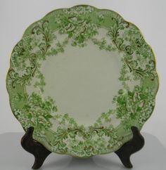 Green English Transferware Plate Victorian Garland Flower Swags Florentine Johnson Brothers