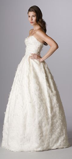 Style 142. Strapless wedding dress with built-in waistband.  Made in USA.  Ariadress.com