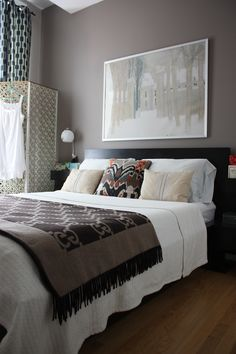 good idea for bedding, not too many pillows, like wall color: Benjamin Moore, Coachmen's Cape