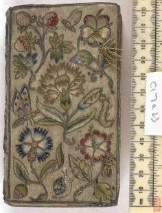 c17a23. Satin, Embroidered, Author HENSHAW Joseph Bishop of Peterborough.  Title Hor: Succisiv: ..., London, 1632. The British Library - Database of Bookbindings - Full Image. More info: http://www.bl.uk/catalogues/bookbindings/LargeImage.aspx?RecordId=020-000001432=ImageId=40321=BL