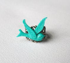 Blue bird ring, adjustable filigree ring on Etsy, £4.00
