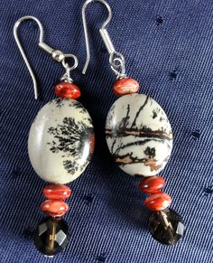 Picture Jasper Earrings with Spiny Oyster by GemstoneJewelrybyVal, $20.00