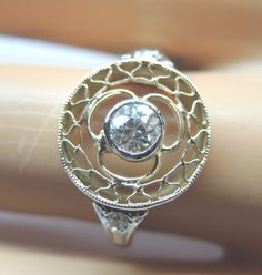 Antique Diamond Engagement Ring Platinum 14K Yellow Gold Ring Size 5 EGL USA
