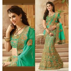 Party Wear Viscose Soft Net Cyan Lehenga Saree - 16427