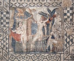 Volubilis: Top-down view of a square mosaic with a geometric border and a square inset showing Diana and her nymph surprised by Actaeon while bathing Ancient Rome, Ancient Art, Volubilis, Pompeii And Herculaneum, Roman History, Byzantine Art, Roman Art, African History, Illustrations And Posters