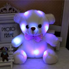 appease Plush Toys 20cm White bear doll Shining Soft toy for baby in the evening Baby's companion protector with Box no battery