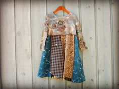Boho Blue Brown Day Dress// Large XL // Eco Bohemian by emmevielle, $83.00